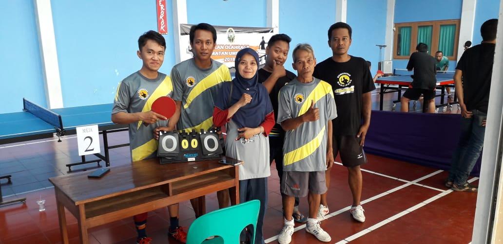 Tim Tenis Meja Kelurahan Pandeyan Juara I dlm PORCAM UMBULHARJO, 04-11-2018